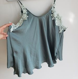 Intimately Free People Green Woah Appliqué Cami